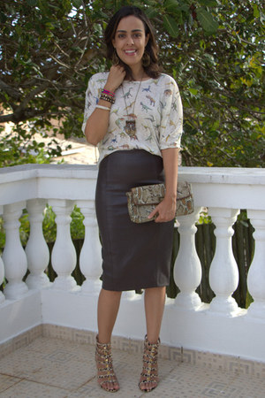 dark brown leather Zara skirt - camel snakeskin Jessica Simpson bag