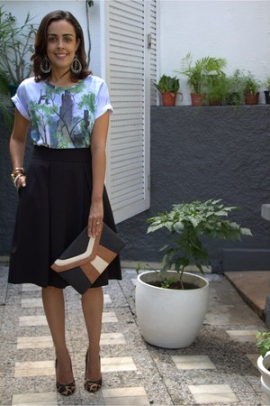 black midi Forever 21 skirt - ivory bag - brown leopard print Capodarte pumps