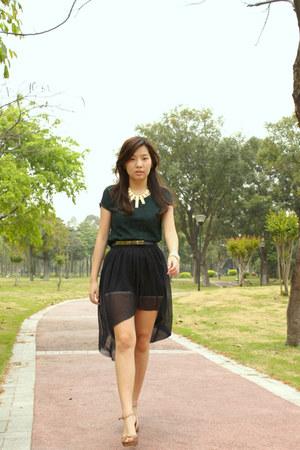 assymetric skirt - lace pull&bear shirt - H&M heels