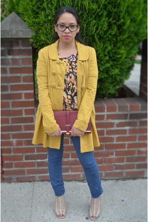 mustard Forever 21 jacket - brick red olivia & joy bag