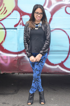 blue floral print Macys pants - black sequins H&M jacket