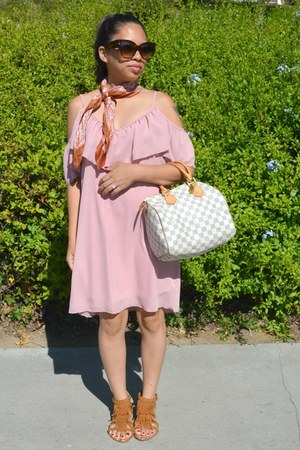 pink Charlotte Russe dress - white Louis Vuitton bag