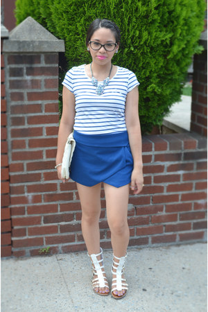 blue Forever 21 shorts - white unknown sandals - sky blue Walmart necklace