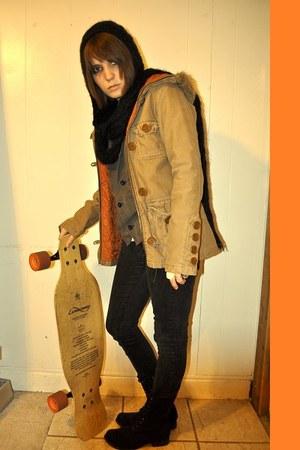 Forever 21 boots - hollister jacket - Forever 21 scarf - thrifted vest