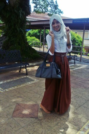 handmade skirt - Zara shirt - scarf - seed bag - Vincci loafers