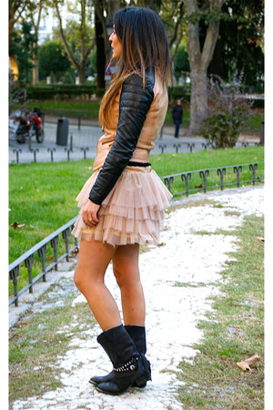 Zara skirt - hakei boots - Zara jacket