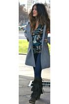 denny rose coat - Diesel boots - Custo Barcelona shirt
