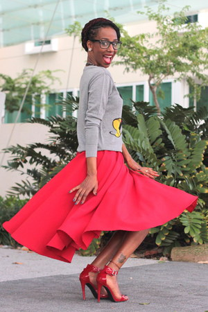 red flare skirt custom made skirt - heather gray Target sweatshirt