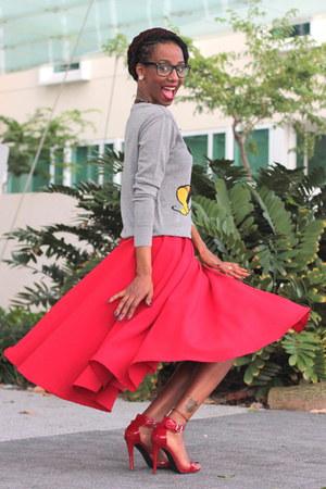 red flare skirt custom made skirt - heather gray Target sweatshirt