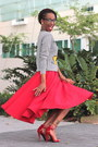 Heather-gray-target-sweatshirt-red-flare-skirt-custom-made-skirt