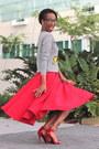 Heather-gray-target-sweatshirt-red-flare-skirt-custom-made-skirt