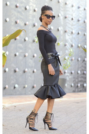 black asos blouse - black peplum UrbanOG skirt