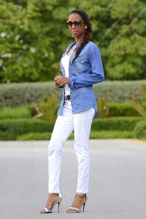 blue denim shirt shirt - white skinny jeans jeans - silver sandals heels