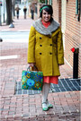Green-vintage-shoes-red-orange-red-vintage-dress-lime-green-chartreuse-coat