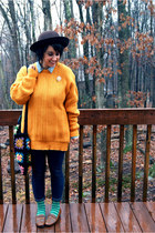 mustard oversized thrifted sweater - brown Target hat - light blue Target shirt