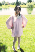 pink Topshop dress - white Urban Outfitters tights - pink miss l fire shoes