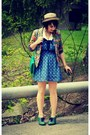 Green-poetic-license-shoes-navy-bow-collar-cooperative-dress