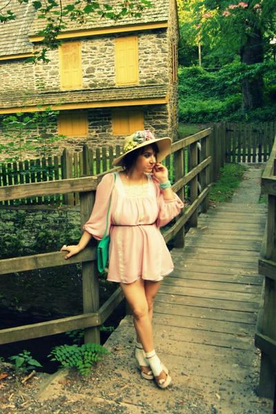 aquamarine turquoise vintage purse - light pink baby doll Topshop dress