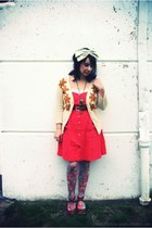 red linen Urban Outfitters dress - light blue flower print Etsy tights - light b
