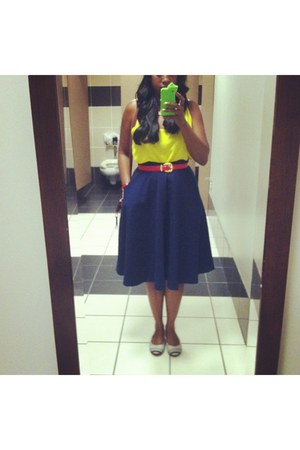 skirt - shoes - blouse - belt