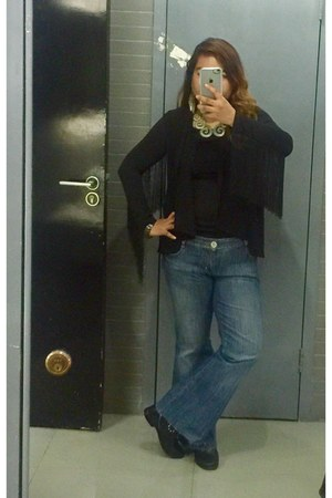 black fringed H&M blouse - black caleen boots