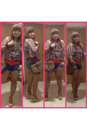 brown sheer Bershka blouse - dark brown hippie bag Forever 21 bag