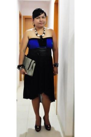 black mullet random from china skirt - blue tube random from singapore dress