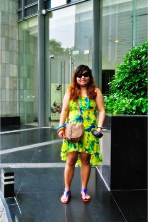 brown shoulder bag Forever 21 bag - yellow mullet dress miss and she dress