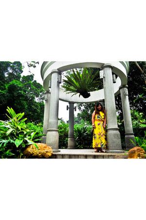 yellow boho maxi dress - LV bag