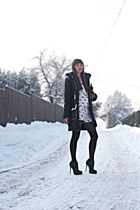 black tiffi coat - white Zara jacket - white Zara shorts - black Buffalo London
