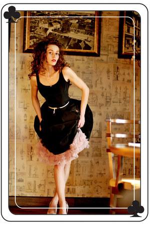 black tafeta echo dress - white tiffi jacket - ivory real leather simple heels