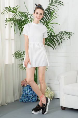 white shalex dress - salmon shalex socks