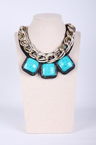 Bead Stone Chain Link Collar Necklace