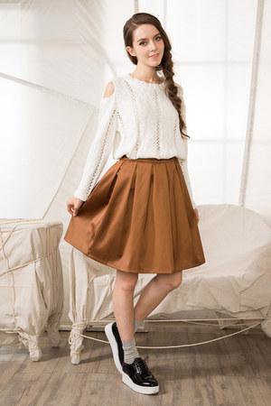 white shalex sweater - gold shalex skirt
