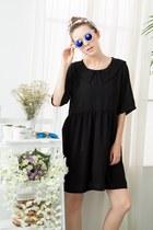 black shalex dress - black shalex socks - silver shalex sunglasses