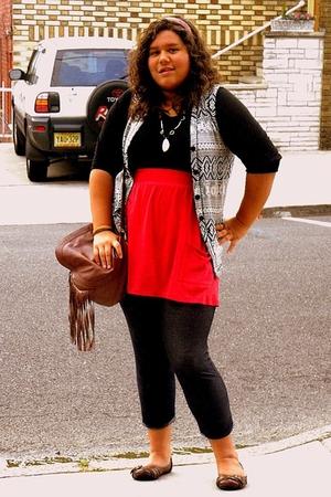 red Target shirt - brown kohls purse - gold Chicos necklace - white FleaMarket v