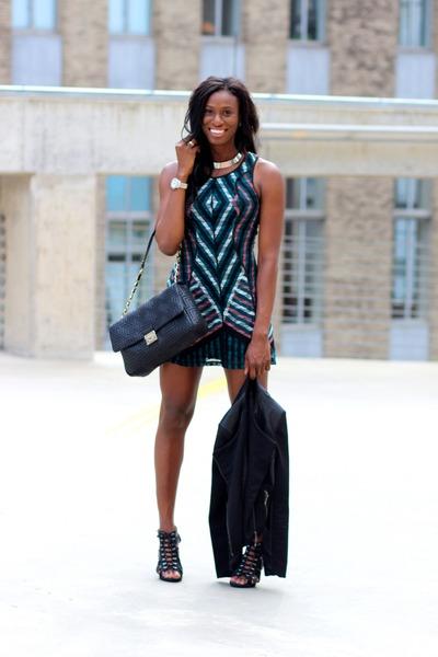 black versace bag bag - teal bar iii dress