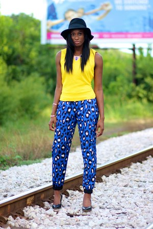 black Forever 21 hat - blue pants