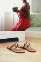 J Crew dress - tory burch sandals