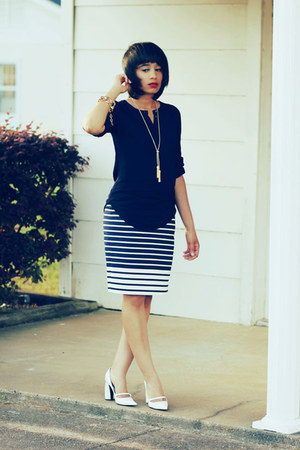 J Crew shirt - J Crew skirt - Marc Jacobs heels