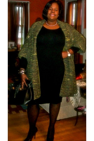 Wet Seal heels - black dress BCBG dress - vintage coat - torrid stockings