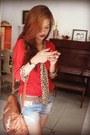 Ruby-red-vintage-blouse-burnt-orange-thrifted-vintage-bag