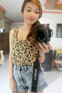 Heather-gray-sequined-zara-shorts-mustard-leopard-print-forever-21-blouse