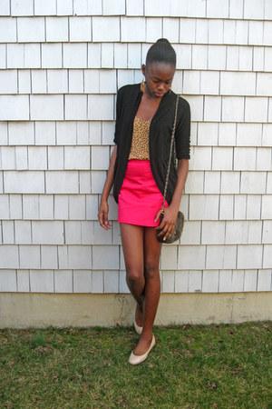 black Wet Seal cardigan - mustard polka dot Old Navy top - hot pink H&M skirt