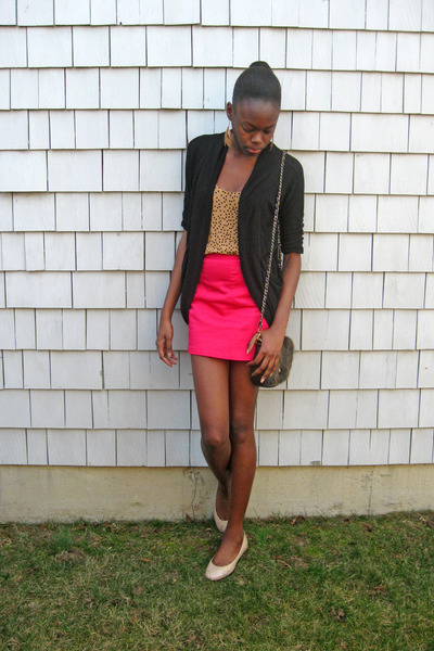 black Wet Seal cardigan - mustard polka dot Old Navy top - hot pink H&M skirt