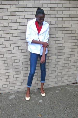 white tailored Marshall jacket - nude Fitzwell shoes - red sheer thrifted blouse