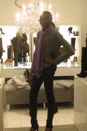 gray H&M cardigan - purple Charlotte Russe scarf - Victorias Secret jeans