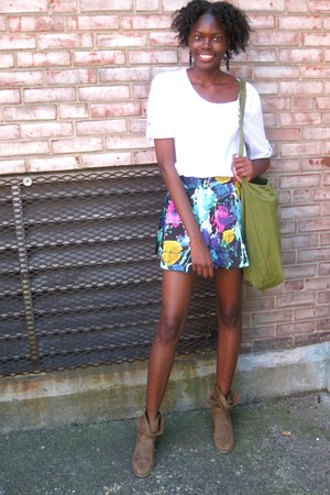 Payless boots - floral print Forever 21 skirt - Forever 21 skirt