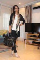 black YDE cardigan - beige Nine West shoes - black Aldo purse - green vintage sc