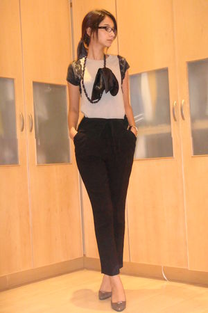 black Jenni Button pants - beige Prada shoes - gray Jenni Button blouse - black